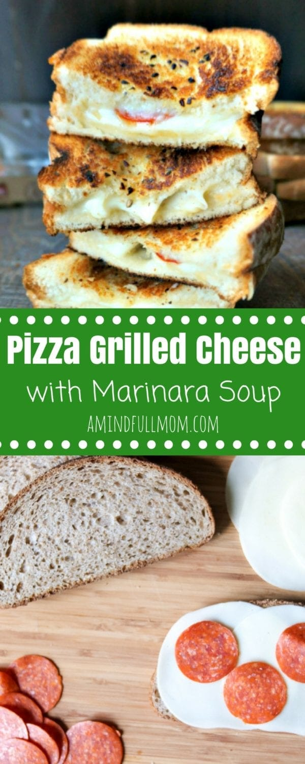 Pepperoni Pizza Grilled Cheese with Marinara Soup: Provolone, mozzerella, and parmesan cheese are layered with pepperoni and toasted between two slices of soft, tender bread that has been slatered in garlic and herb oil. Served up with a side of Marinara Soup, perfect for dipping. #GrilledCheese #30MinuteMeal #Pizza #KidFriendlyDinner #SoupandGrilledCheese #EasyRecipe