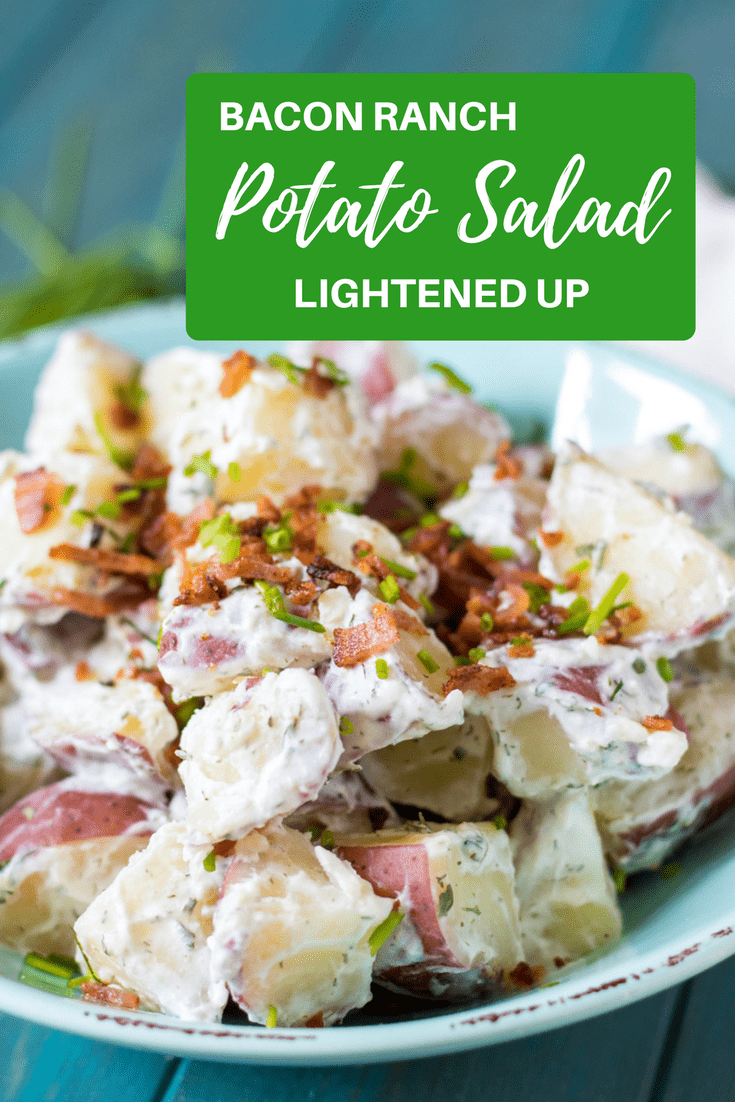 Bacon Ranch Potato Salad: Red potatoes, crispy bacon, sharp scallions, and a homemade Ranch dressing made with a bit of mayonnaise and Greek yogurt is sure to become your new favorite pot-luck go-to!  #potatosalad #greekyogurt #picnic #memorialday #summerentertaining #laborday #glutenfree