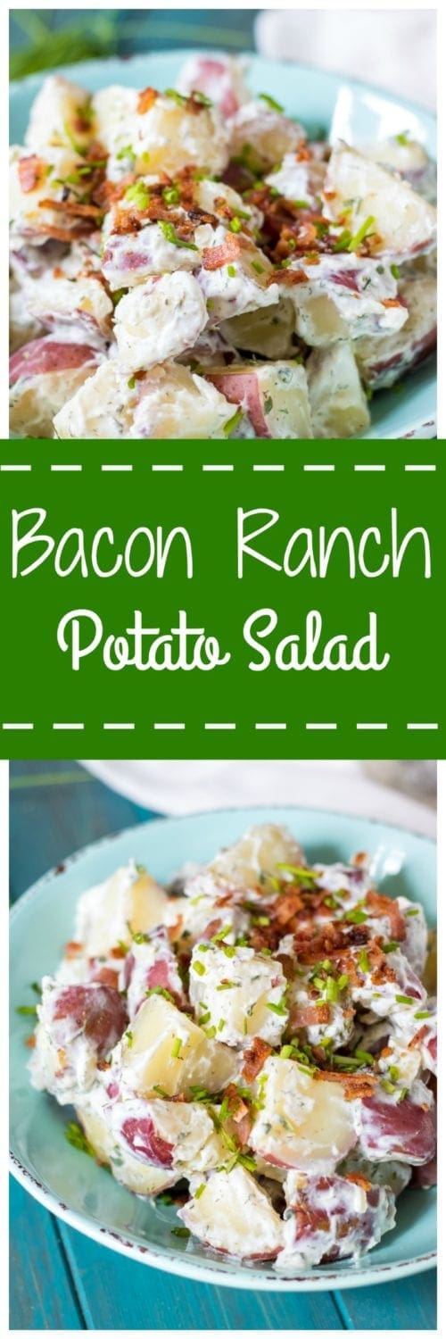 Bacon Ranch Potato Salad:Red potatoes, crispy bacon, sharp scallions, and a homemade Ranch dressing made withBlue Plate® Light Mayonnaise with Greek Yogurt is sure to become your new favorite pot-luck go-to! Thank you for BluePlate® Mayonnaise for sponsoring this post.