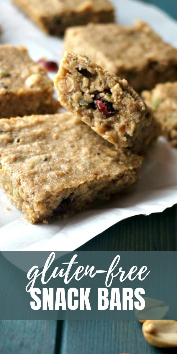 These Healthy Gluten-Free Trail Mix Bars are an easy, healthy snack bar that is filled with nuts, dried cranberries, seeds, and a whole lot of protein! They are also gluten-free, dairy-free, and easy to make.