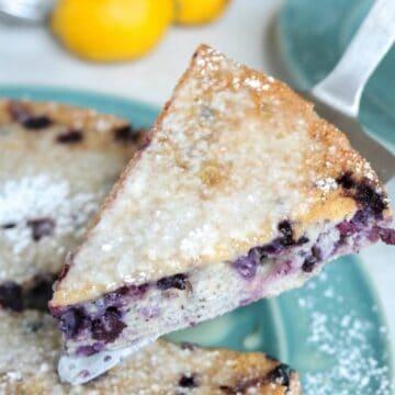 Slice of Blueberry Coffee Cake on spatula