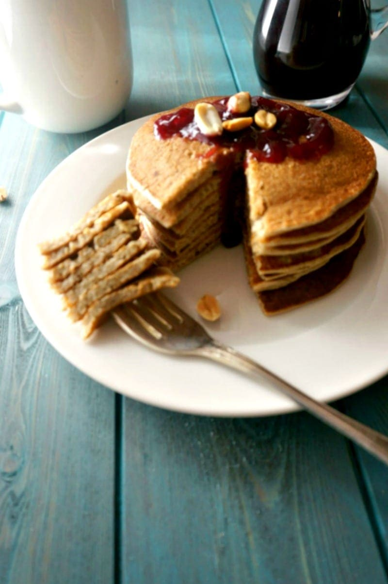 Peanut Butter and Jelly Pancakes: Fluffy, gluten-free peanut butter pancakes are topped with grape jelly syrup, for a breakfast spin on a classic lunchbox favorite.