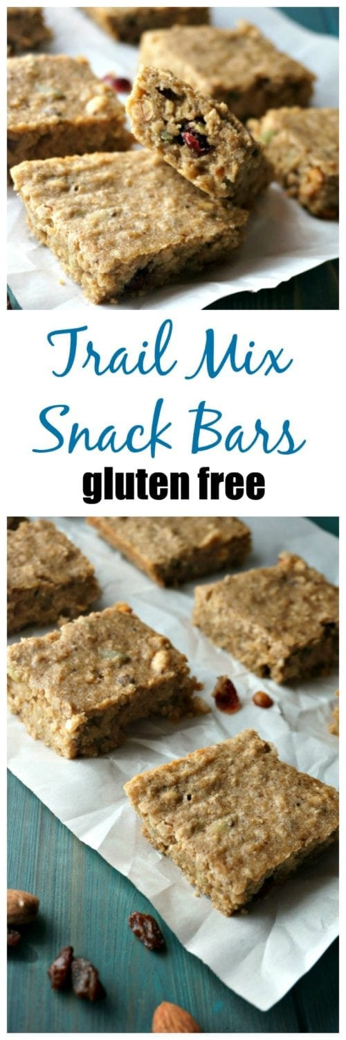 Trail Mix Snack Bars: A healthy and hearty DIY trail mix granola bar that is filled with nuts, dried cranberries, seeds and a whole lot of protein! These gems are also Gluten-Free and easy to make! | Gluten Free Granola Bars | Gluten Free Snacks | Dairy-Free Granola Bars |