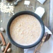 Chai oatmeal in rustic bowl
