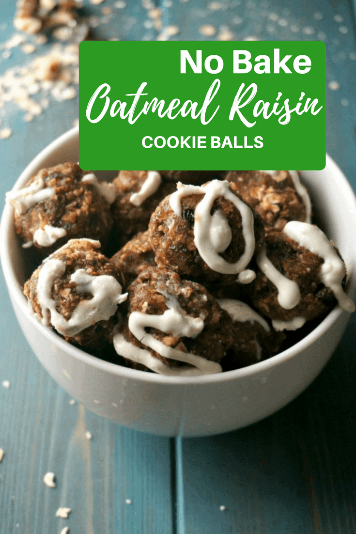 No Bake Oatmeal Cookie Energy Balls: These homemade oatmeal balls are a gluten free, easy, healthy version of a favorite cookie--complete with a naturally sweetened (optional) cream cheese frosting! #glutenfree #oatmealcookie #oatmealball #healthysnack #amindfullmom