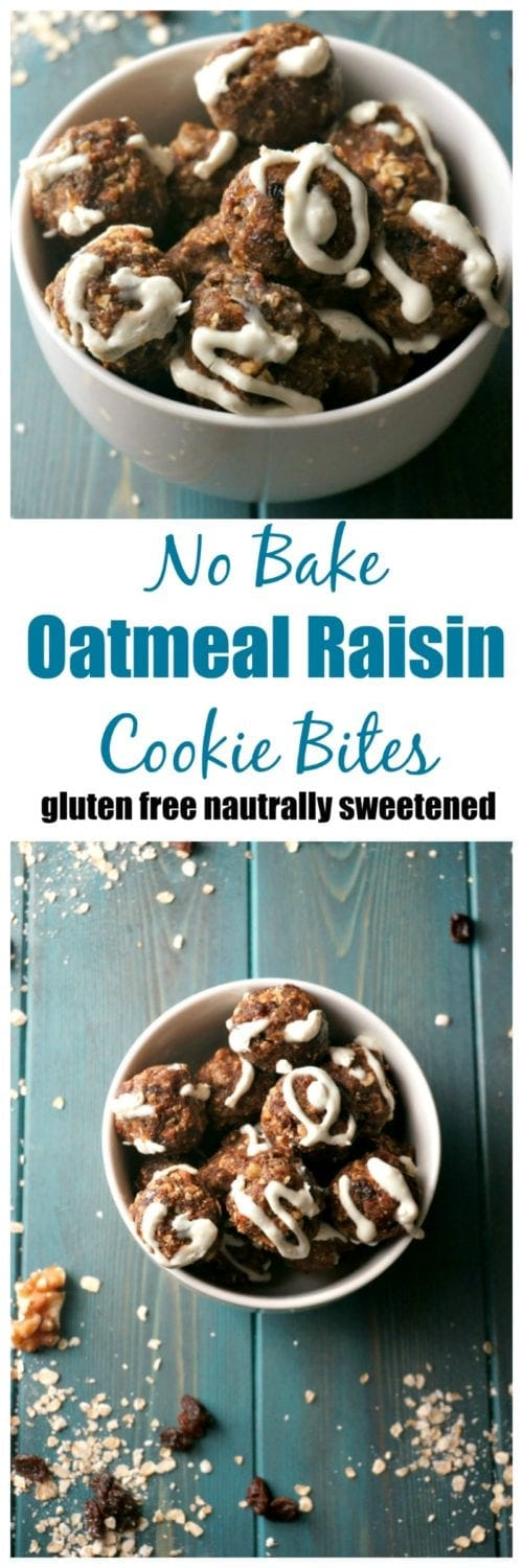No Bake Oatmeal Raisin Cookie Bites: A gluten free, easy, healthy version of a favorite cookie--complete with a naturally sweetened (optional) cream cheese frosting!
