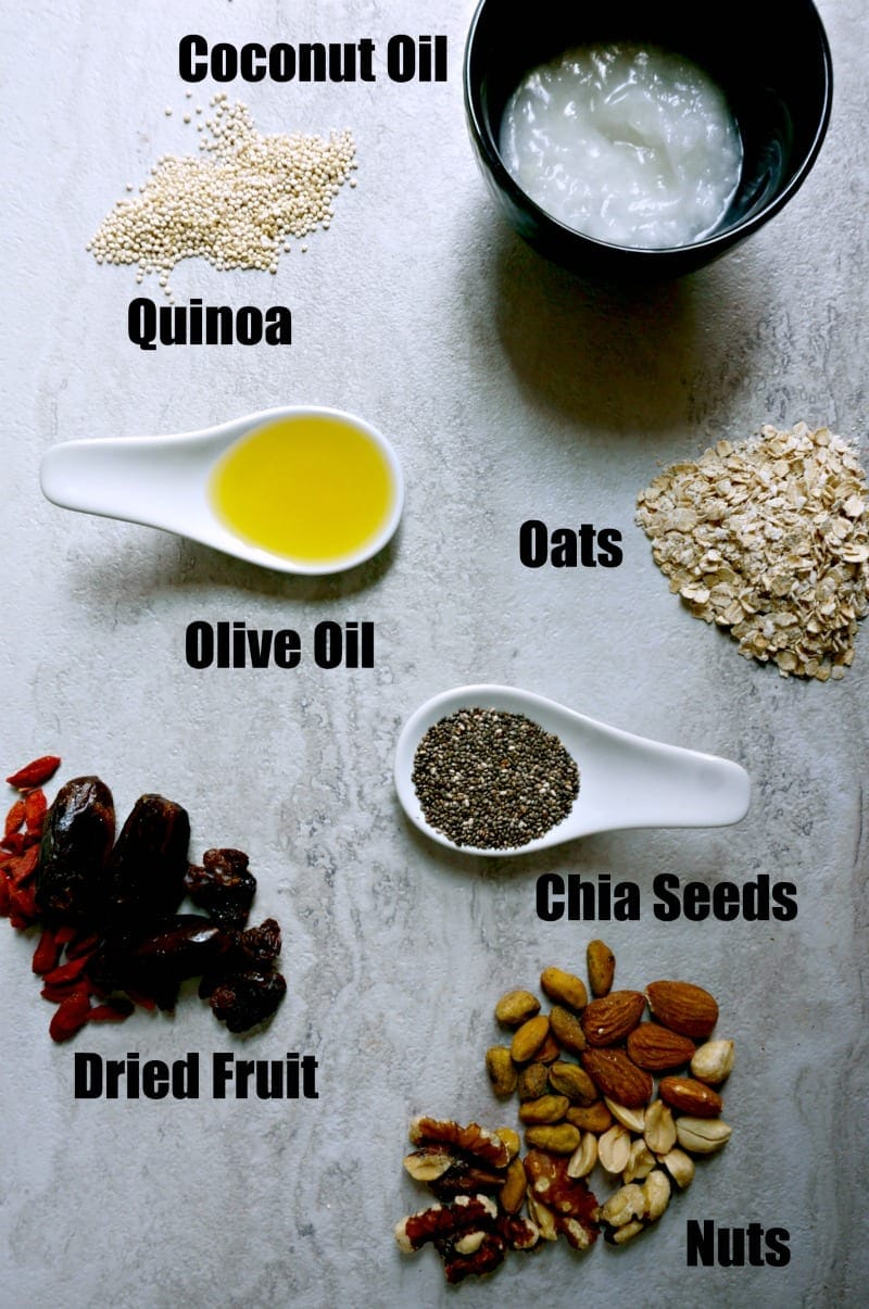 picture of coconut oil, quinoa, oats, chia seeds, dried fruit, nuts