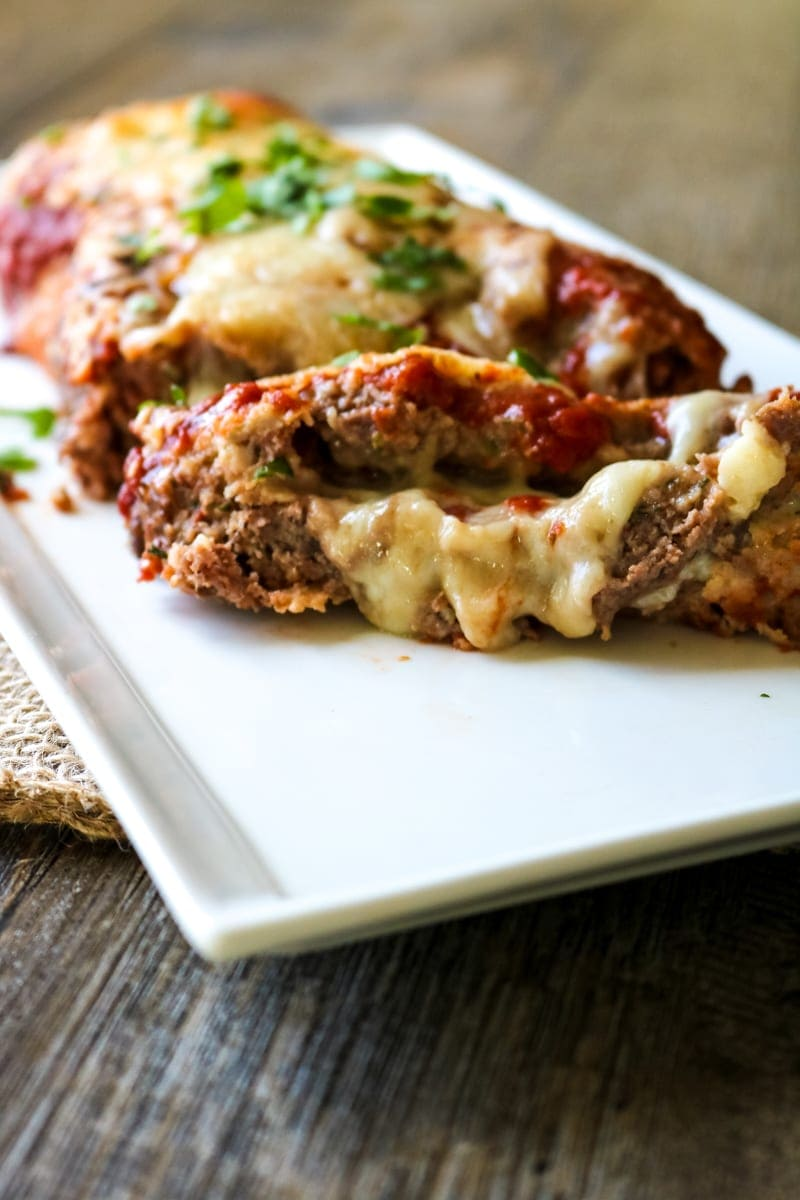Slice of cheese stuffed meatloaf