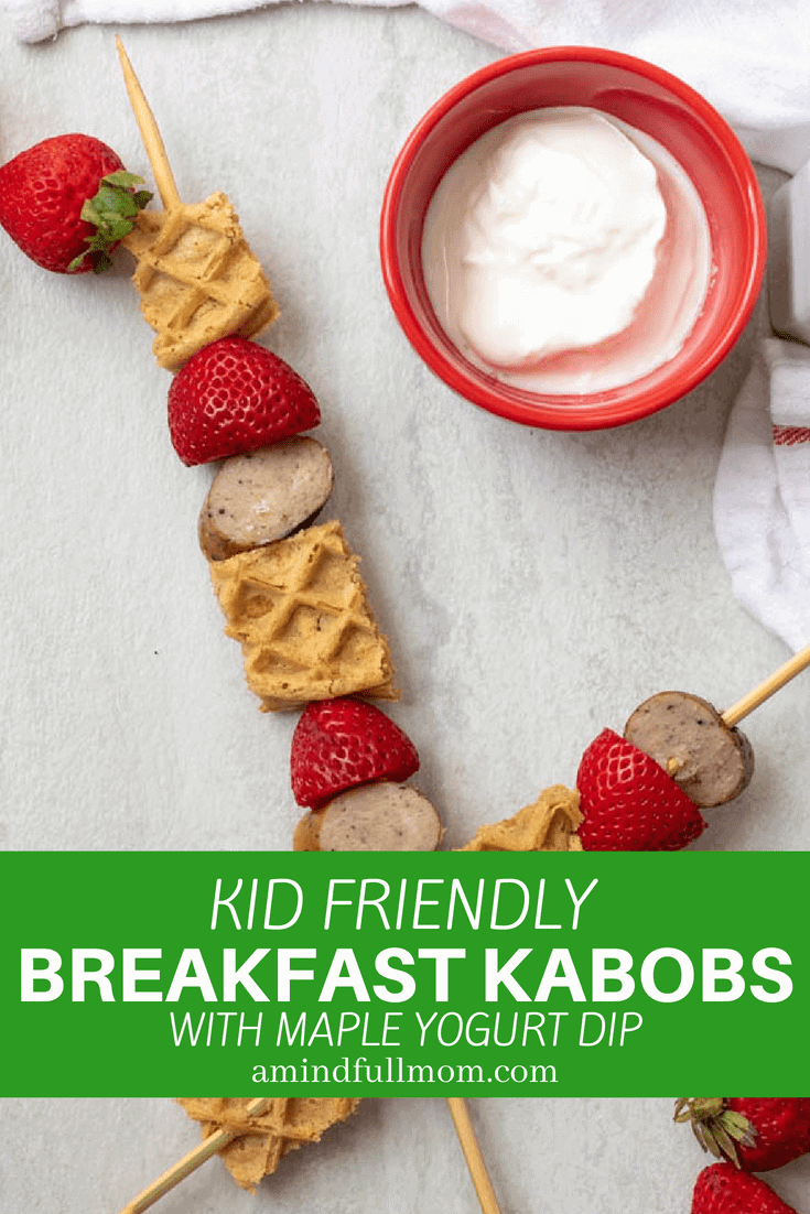 Waffle Kabobs with Maple Yogurt Dipping Sauce: Waffles, fresh fruit, and breakfast sausage are threaded onto sticks for a fun spin on kabobs--complete with a sweet maple yogurt dipping sauce. #foodonastick #kidfriendly #kabobs #breakfast