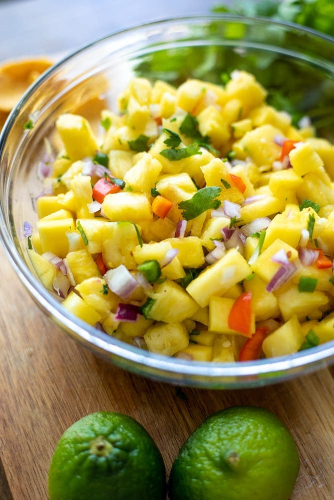 Bowl of Mango Salsa with fresh pineapple