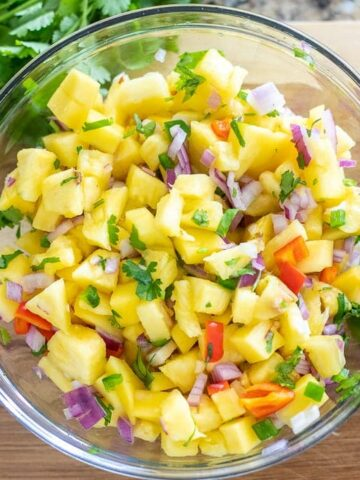 Bowl of Mango Salsa with Pineapple