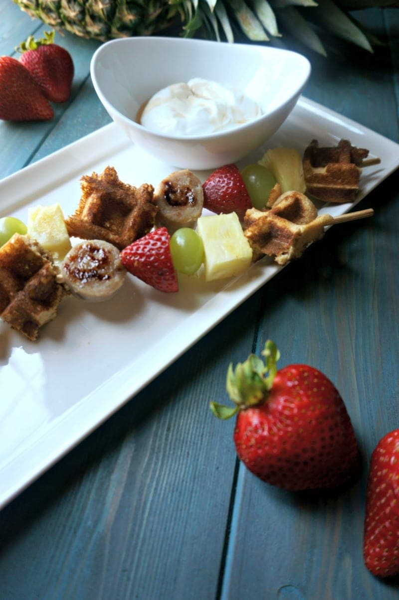 Waffles on a Stick with Maple Dipping Sauce