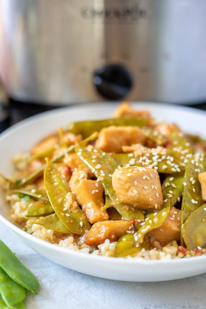 Bowl of Mongolian Chicken next to Slow Cooker