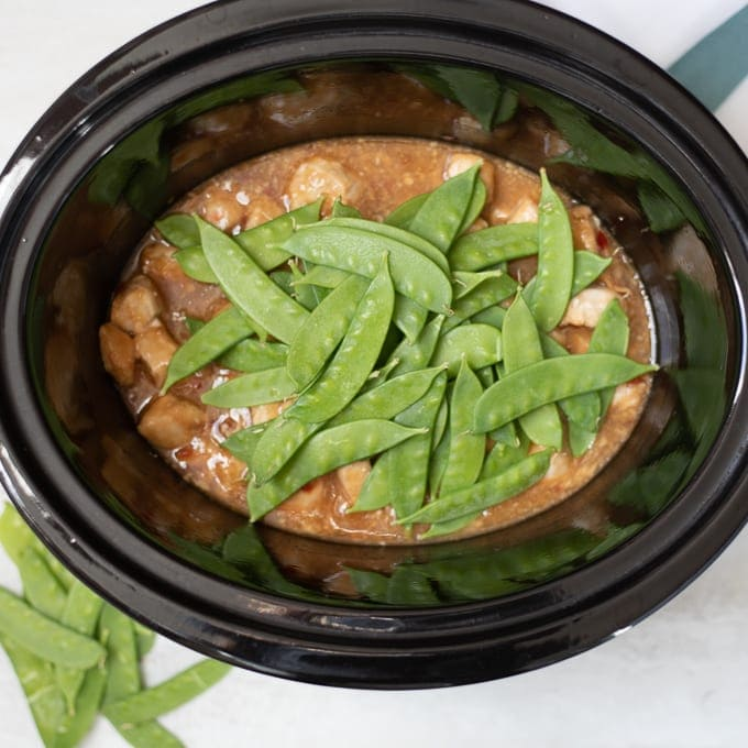 Mongolian Chicken with Fresh Snow Peas in Slow Cooker