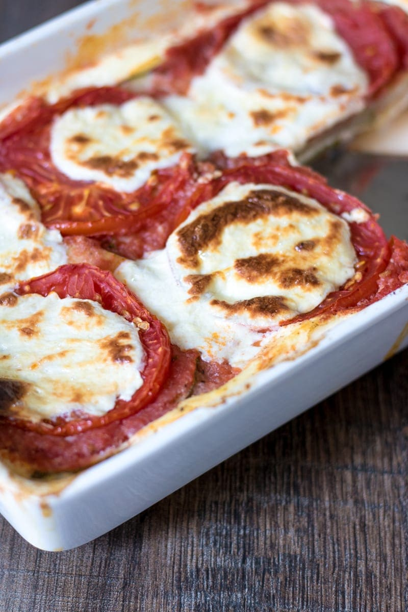 Cheesy Low Carb Lasagna in white lasanga pan
