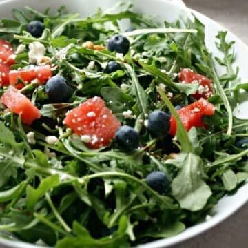 Watermelon Arugula Salad in white bowl