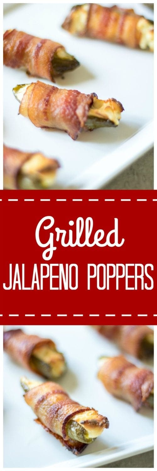 Grilled Jalapeno Poppers: Spicy jalapenos are stuffed with a smoky cream cheese filling, wrapped in bacon, and grilled to perfection for one spicy, creamy bite that is sure to light any appetite on fire!