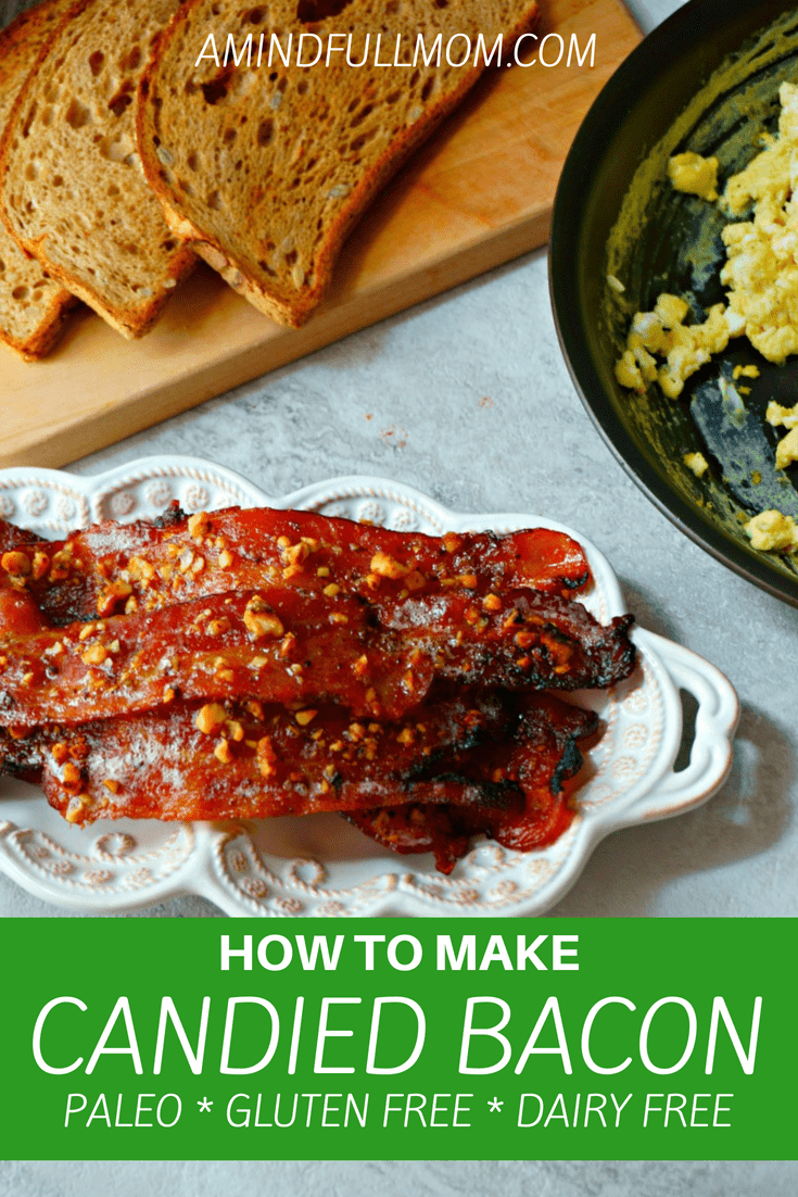 Maple Glazed Bacon: A sweet and slightly spicy glaze and chopped walnuts coat crispy, smokey bacon for an elevated taste, making this candied maple bacon that much more irresistible. #bacon #glutenfree #paleo