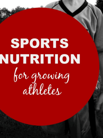 Boy in Football uniform with title text that reads Sports nutrition for growing athletes