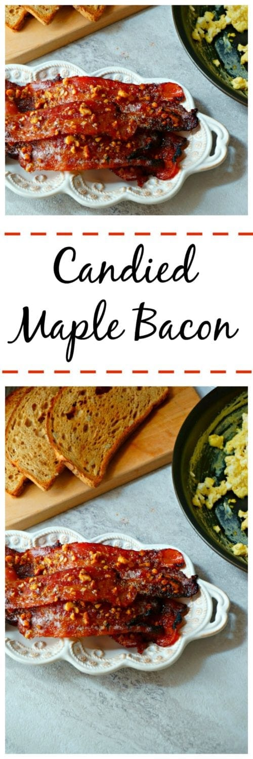 Candied Maple Bacon: Maple syup is combined with a variety of spices to create a complex, rich, sweet and spicy glaze perfect for bacon.