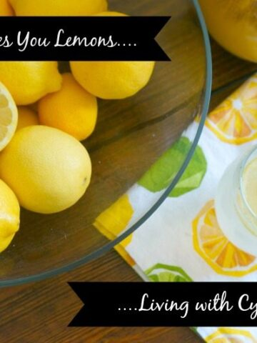 glass of lemonade and bowl of lemons with text that reads when life gives you lemons