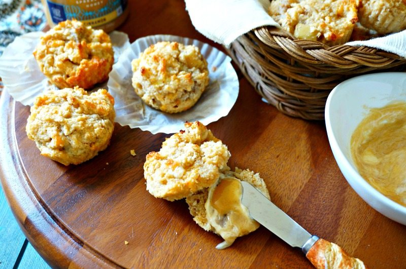 Breakfast Muffins with Apple Sausage and Fresh Apples