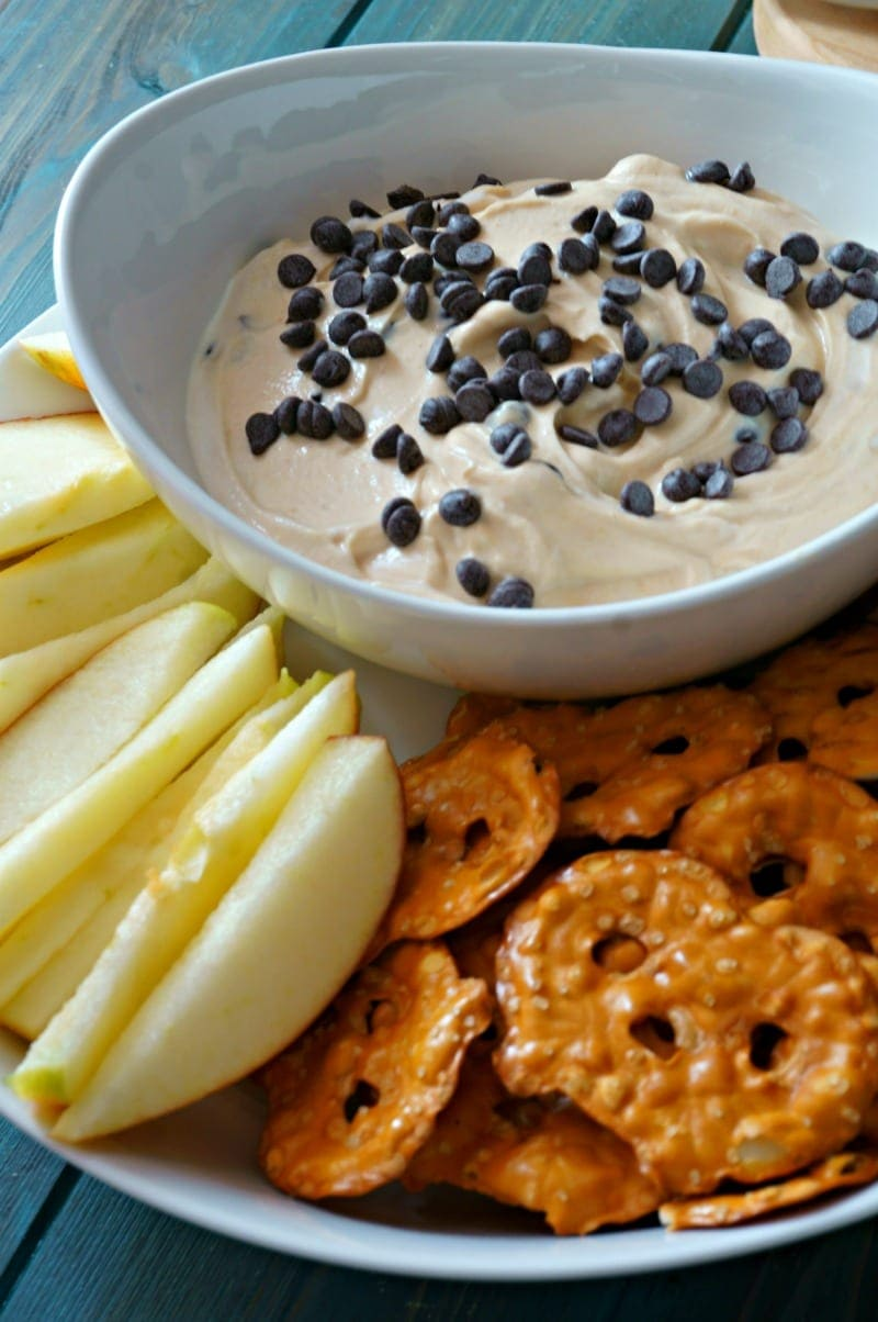5 Ingredient Chocolate Peanut Butter Dip with apples and pretzels