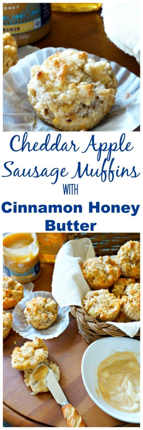 Cheddar Apple Sausage Muffins with Cinnamon Honey Butter: Flaky whole wheat biscuits have been jazzed up with breakfast sausage, sharp cheddar, and fresh apples and turned into muffins. Served with a cinnmon honey butter that takes this breakfast treat over the top.