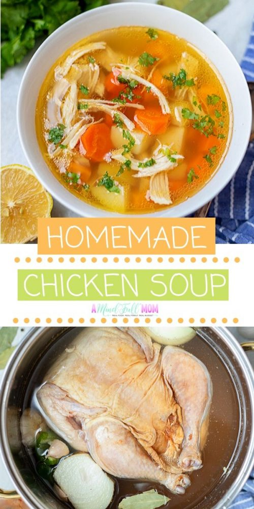 Nothing beats homemade chicken soup when you are not feeling well. This recipe for chicken soup is made from scratch the old fashioned way, is loaded with antioxidants and immune-boosting properties, and is downright comforting!