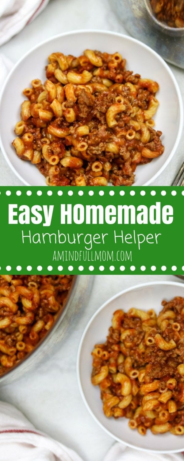 Healthy Homemade Hamburger Helper Skillet: A boxed classic has been given a healthy upgrade, but yet still comes together in one pan for an easy, pleasing family meal. | 30 Minute Recipe | Easy Family Dinner | Easy Pasta Dinner | Kid Friendly Dinner | Easy Family Dinner