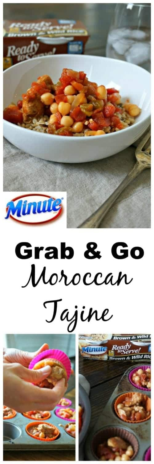 Grab and Go Chickpea Moroccan Tajine: An easy skillet chicken and chickpea tajine that comes together in no time and then is frozen in individual portions that are perfect to pack with a Minute® Ready to Serve Rice.