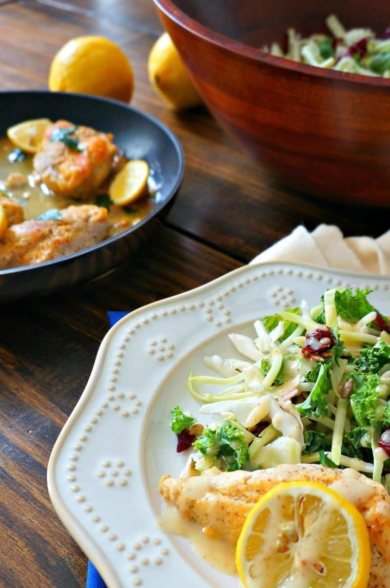 Honey Glazed Chicken with Sunflower Kale Salad. Dairy Free. Gluten Free. Paleo.