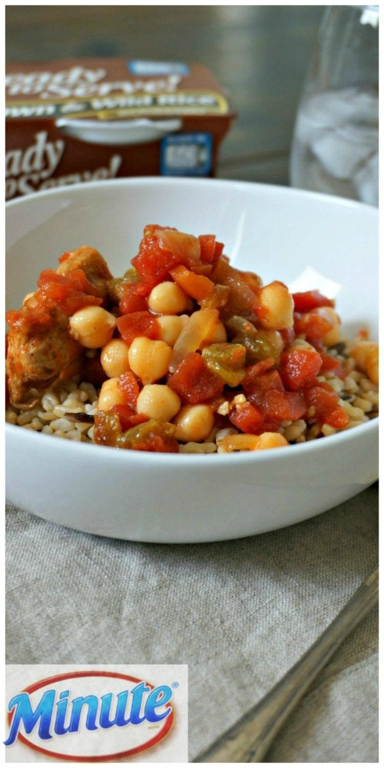 Grab and Go Moroccan Tajine: An easy skillet chicken and chickpea tajine that comes together in no time and then is frozen in individual portions that are perfect to pack with a Minute® Ready to Serve Rice.