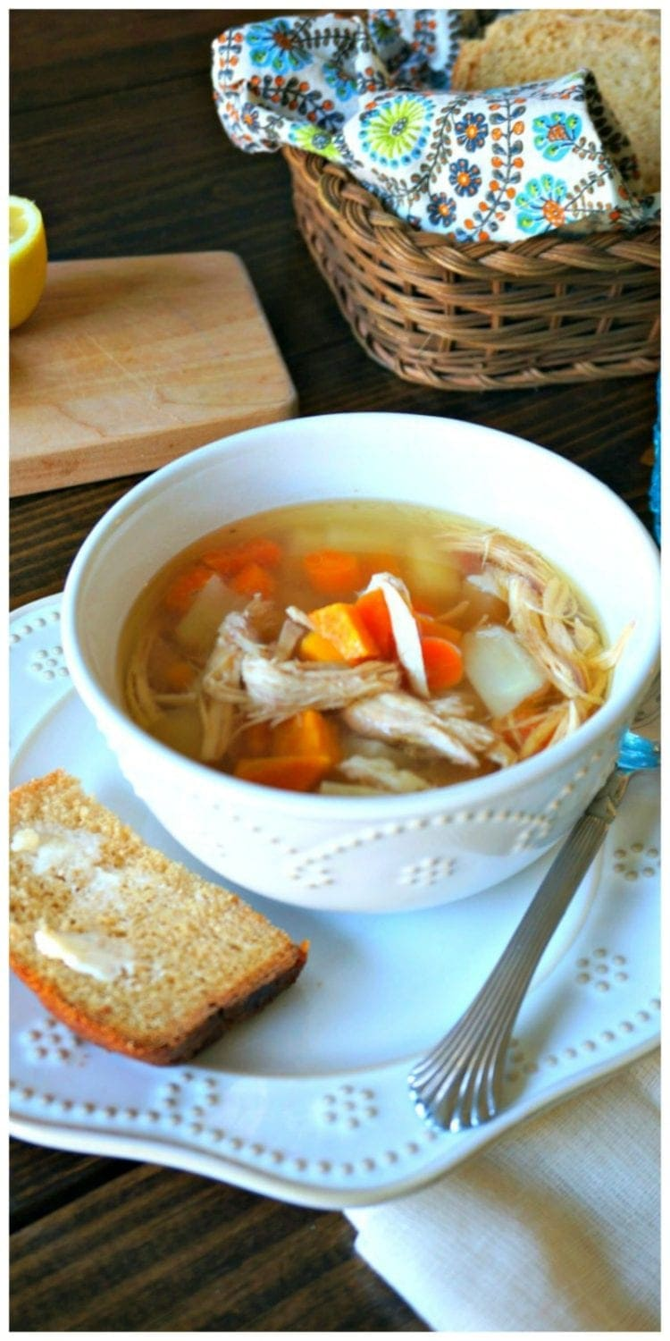 Healing Chicken Soup: A soup that packs a punch right in the face of illnesses due being loaded with antioxidants and immune-boosting properties. Paleo option, Gluten Free. Dairy Free.
