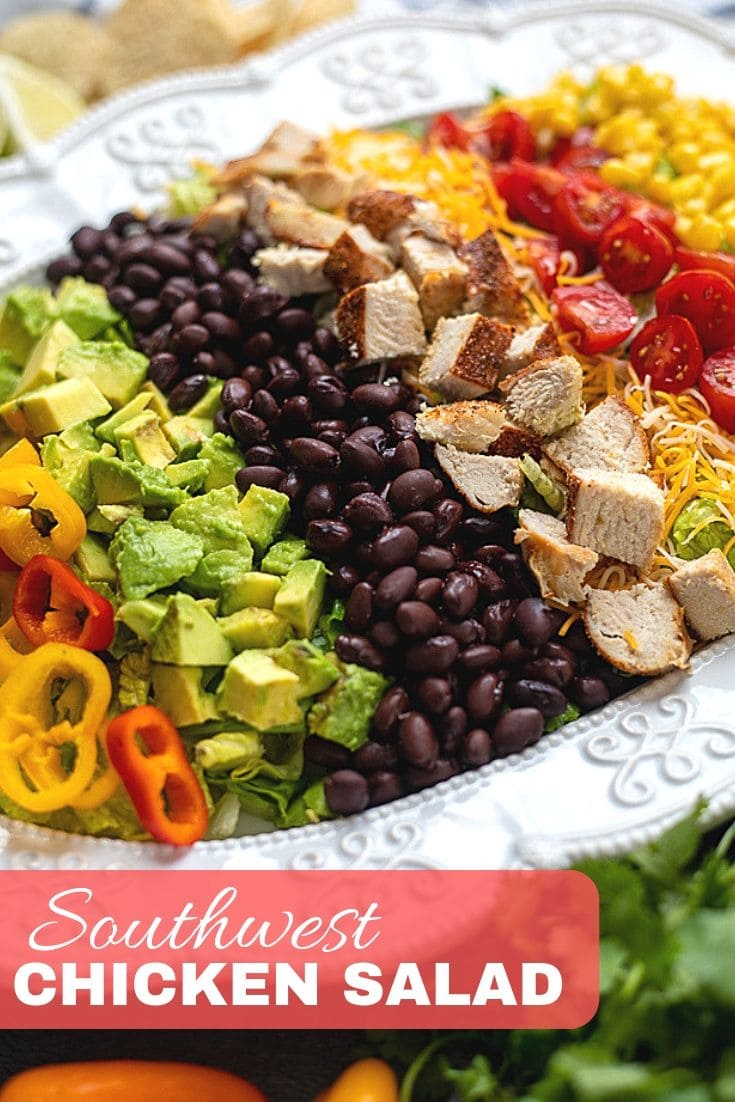 This recipe for Southwest Chicken Salad is so much fresher, healthier, and tastier than any restaurant version. Made with crisp romaine, corn, avocado, tomatoes, peppers, cheese, tortillas, grilled chicken and topped with a creamy Cilantro Lime Dressing, this Southwest Salad is packed with incredible flavor!