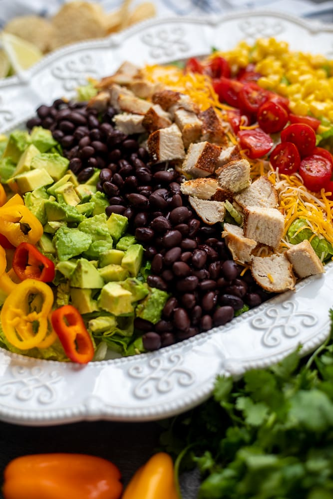 Southwestern Chicken Salad arranged on white platter