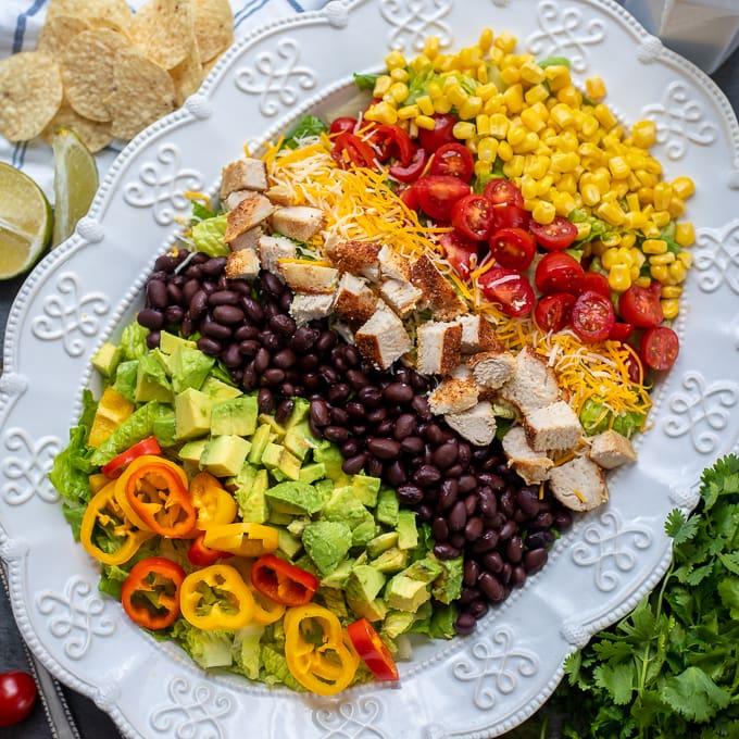 White Platter with Southwest Chicken Salad