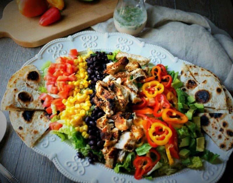 Mexican Chicken Cobb Salad with Cilanro Dressing