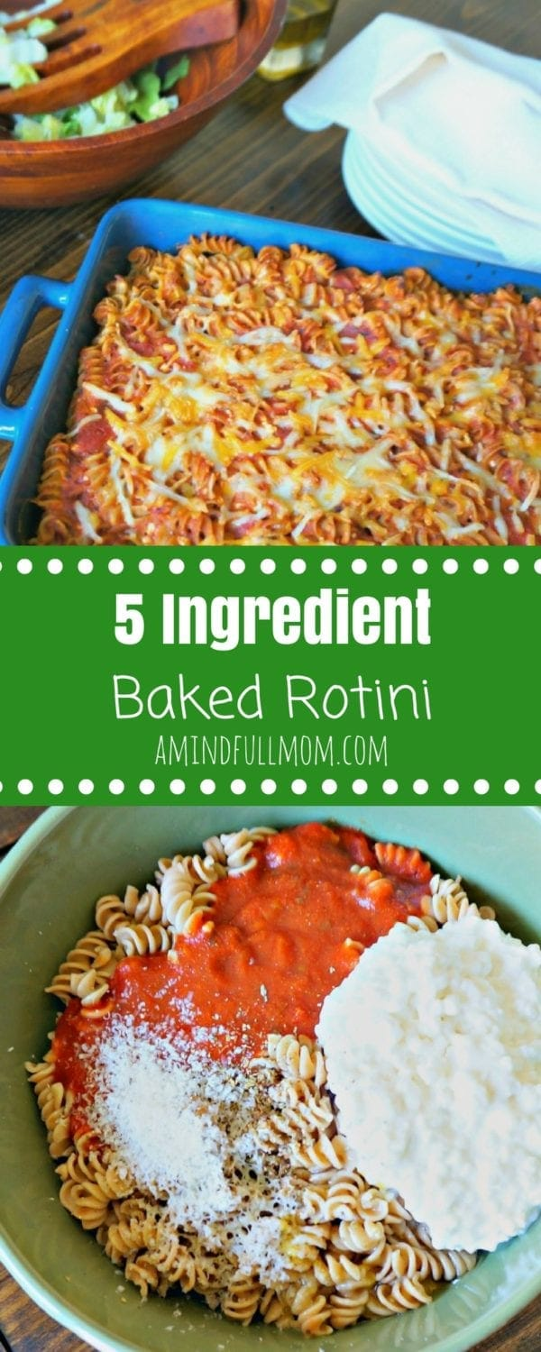 5 Ingredient Baked Rotini: 5 ingredients is all you need to make a family pleasing meal that can stretch to easily feed a crowd. #pasta #familydinner #kidfriendly #easydinner #pastadinner #5ingredients