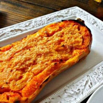 Baked Butternut Squash on white platter