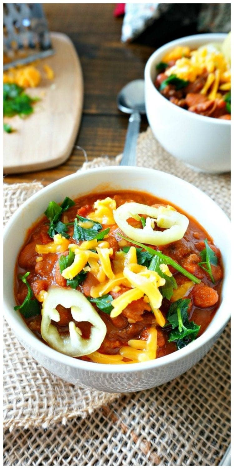Beef and Bean Mustard and Red Wine Braised Chili: Chili gets an unexpected punch of flavor with garlic, dried peppers, red wine, and mustard. Sounds like an odd combination--but it is guarenteed to be the best chili you have ever had!