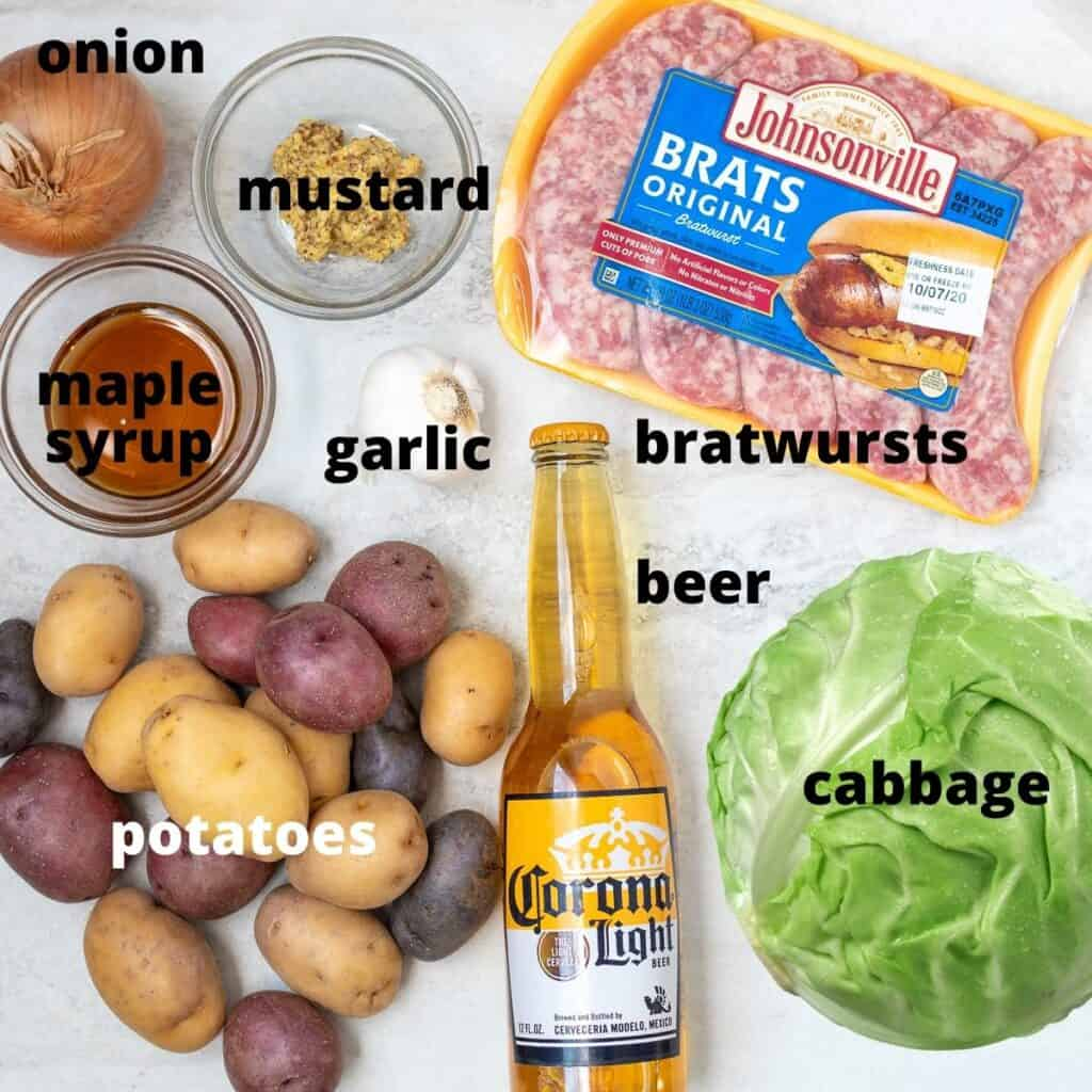Ingredients for baked brats labeled on counter