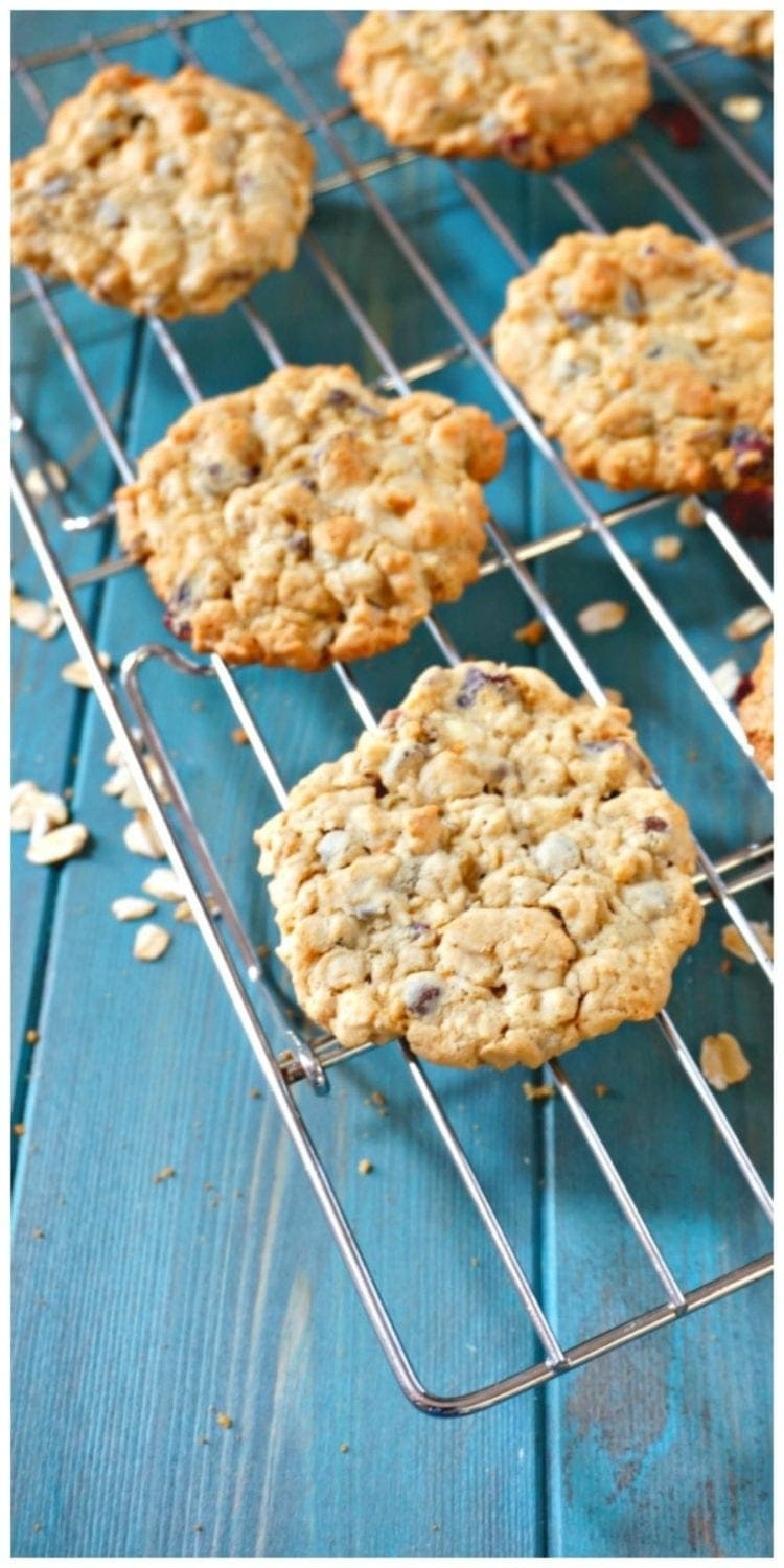 Chewy Cranberry Oatmeal Cookies: A chewy oatmeal cookie, filled with warming spices, dried cranberries and chopped nuts.