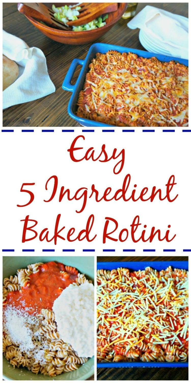 5 Ingredient Baked Rotini: 5 ingredients is all you need to make a family pleasing meal that can stretch to easily feed a crowd.