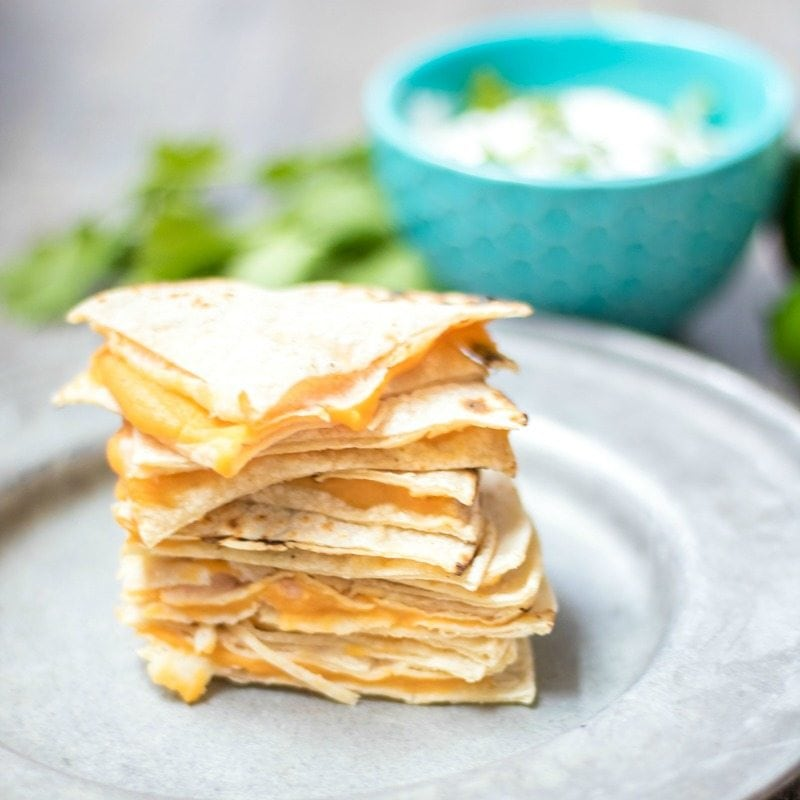 Cheese Quesadilla with Hidden Veggies. Serve with Cilantro Dip.