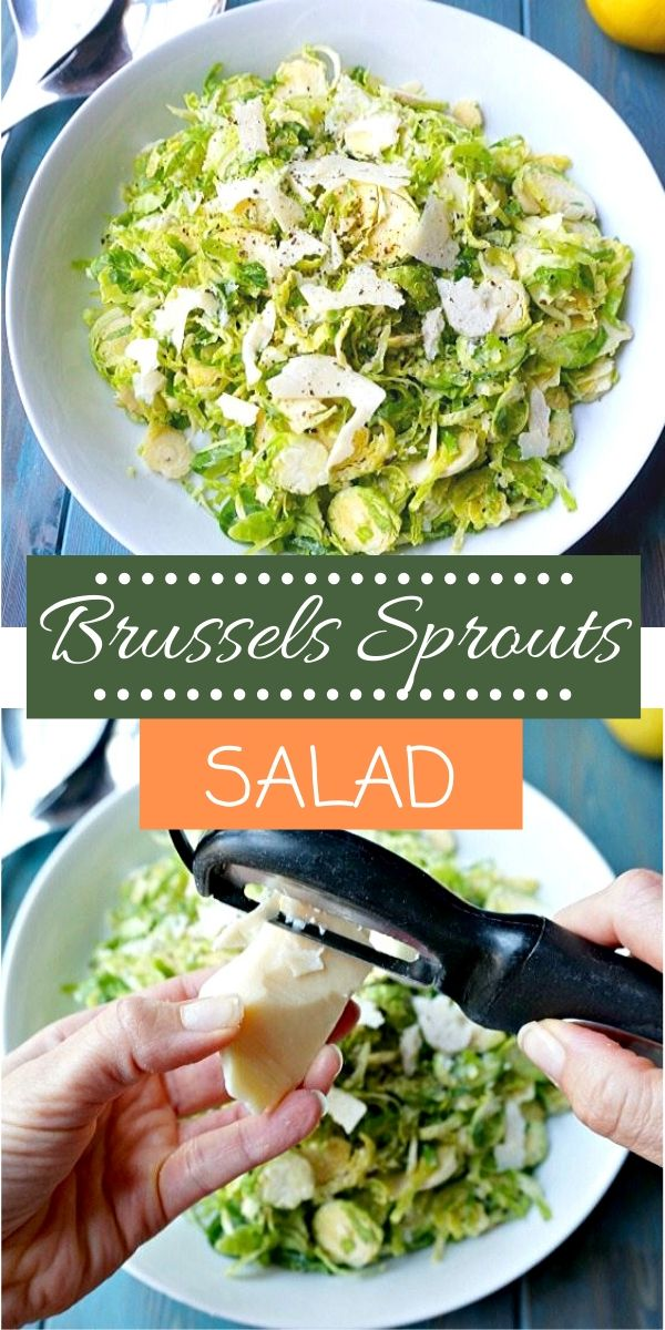 This Brussels Sprouts Salad with Lemon Dressing is INCREDIBLE! Shredded, fresh Brussels sprouts are tossed with a simple homemade dressing and shaved Parmesan cheese. I bet you will never say you don't like Brussels sprouts again! This salad is so easy to make and impresses everyone! Perfect for holiday meals or a weeknight dinner.