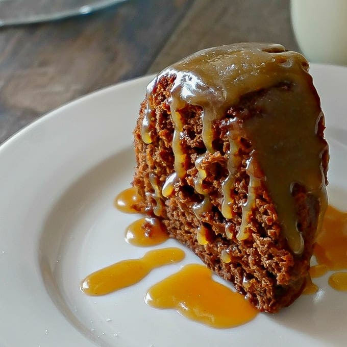 Slice of Chocolate Bundt Cake with Caramel Glaze