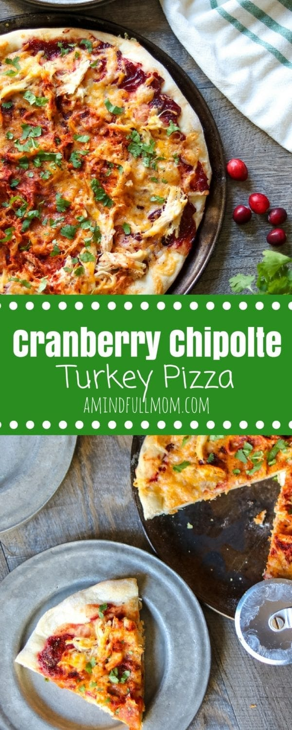 Cranberry Chipotle Barbeque Pizza: Leftover cranberry sauce is transformed into the perfect sweet and spicy base for a BBQ chicken (or turkey) pizza. #Thanksgiving #ThanksgivingLeftovers #Turkey #Pizza #Cranberry
