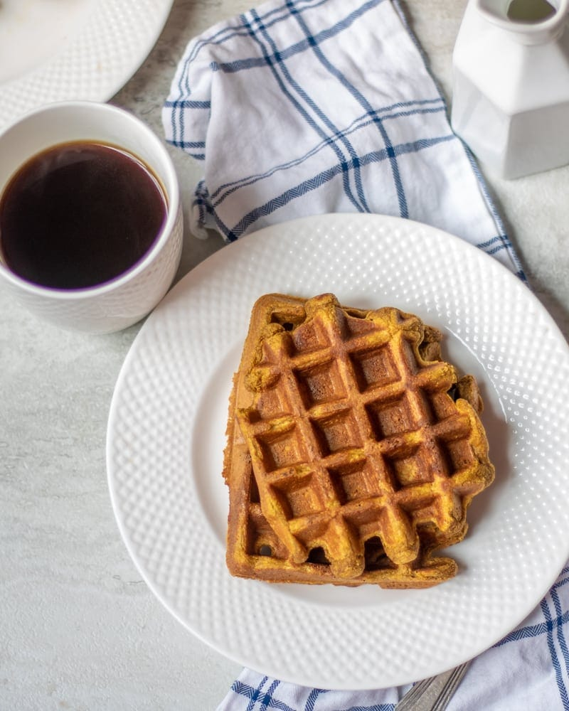 Plate with Sweet Potato Waffles next to Coffee