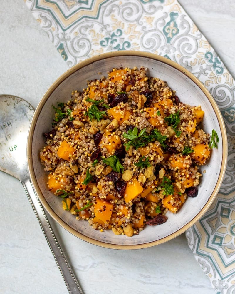 Bowl of Harvest Quinoa Salad with Butternut Squash